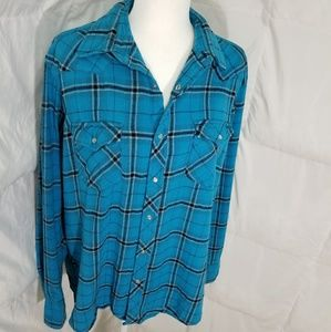 Bright blue button up long sleeve